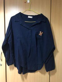 素色 百搭 基本款 深藍色七分袖襯衫 職場時尚