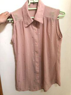 粉膚色罩衫 襯衫式背心 透膚雪紡