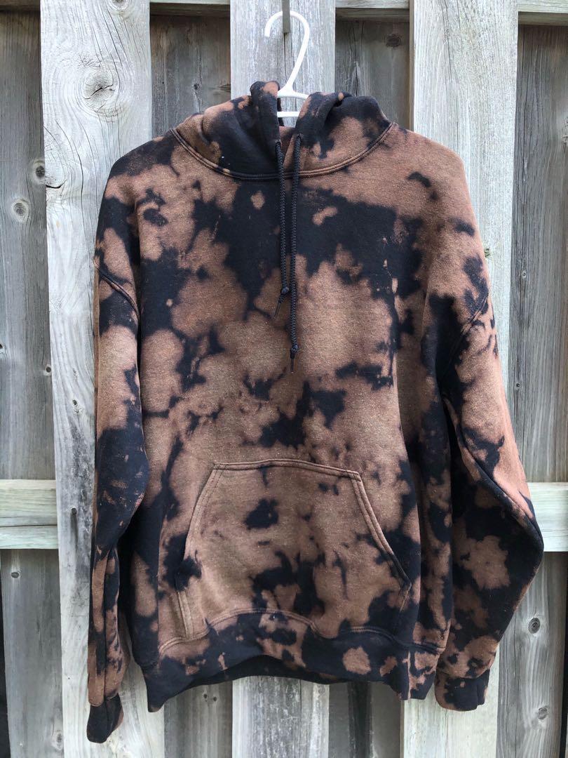 Bleach/Reverse Black/Beige Tie Dye Hoodie