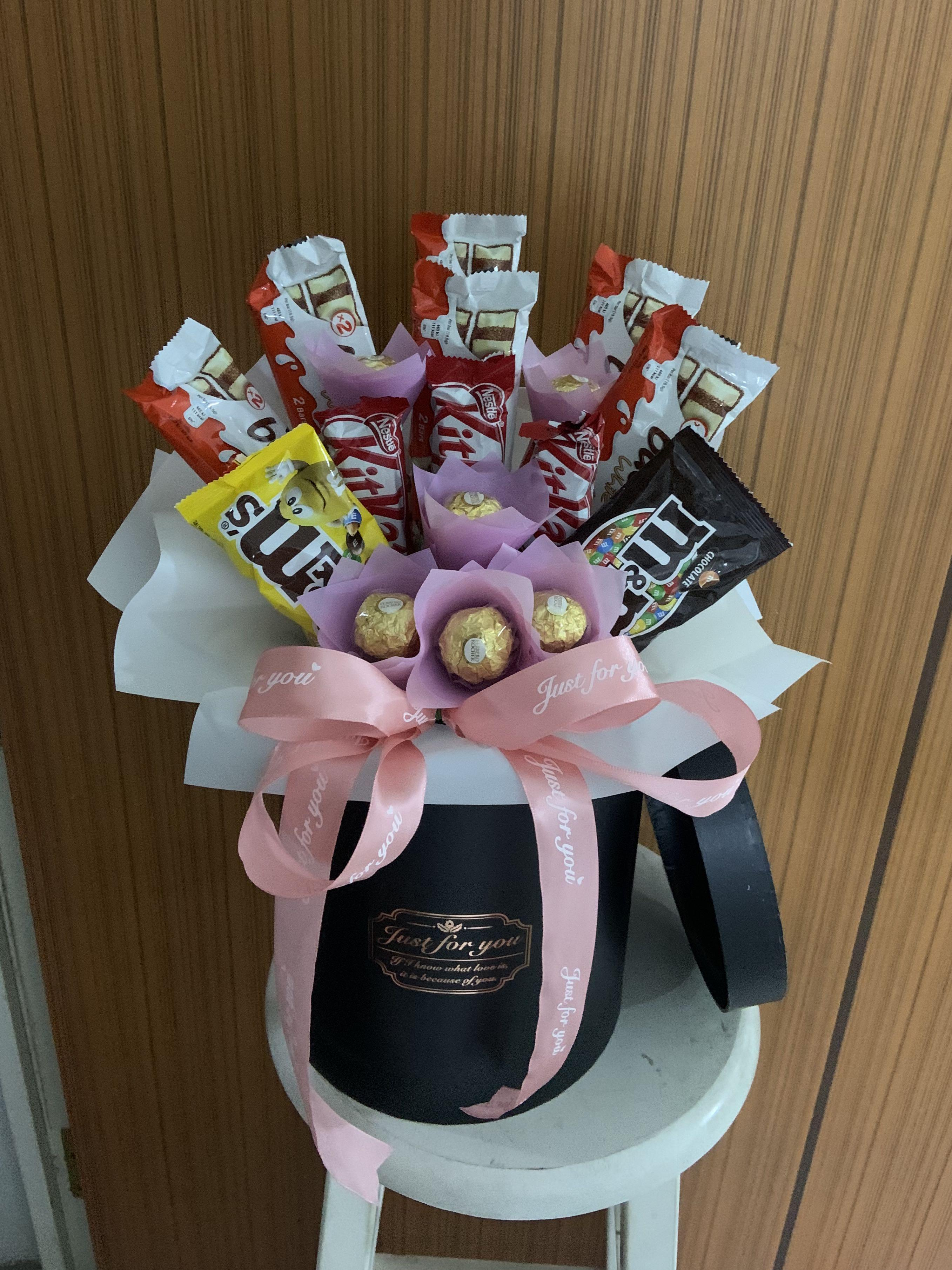 Basket Chocolate Bouquet Gardening Flowers Bouquets On Carousell