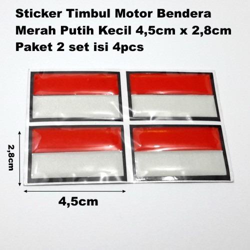 Sticker Timbul Bendera Merah Putih Segi Empat KECIL 4,5cm X 2,8cm Stiker Body Motor Stiker helm Resin Tebal Exclusive Reflective paket promo hemat 1set 4pcs