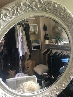 White Round Carved Wood Frame Mirror with vintage aged accents