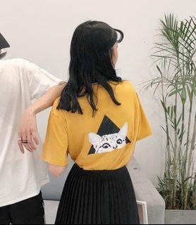 芥黃 貓咪上衣 M號 日韓系上衣