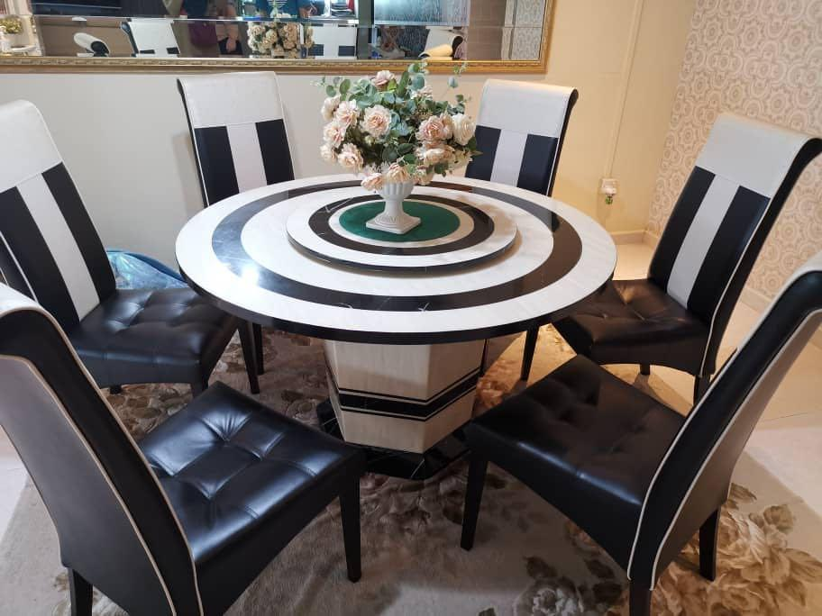 Full Marble Round Dining Table 6 Seater Furniture Tables Chairs On Carousell