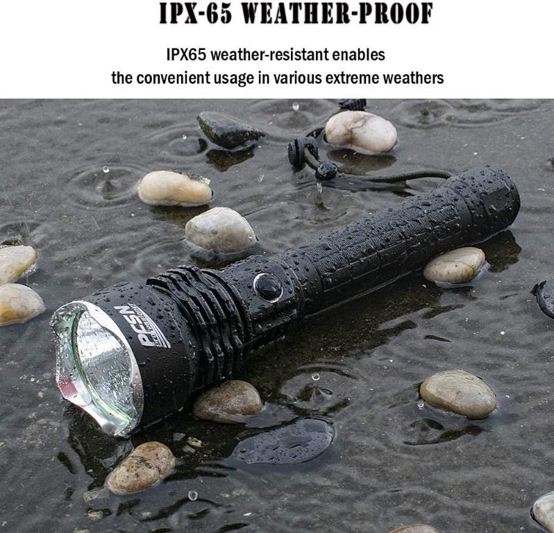Super Bright LED Torch PFSN TCP50 Powerful Flashlight with 6000 Lumen Black