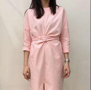 Vieso法式高雅顯瘦純棉洋裝(粉)