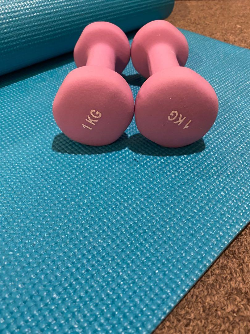 Yoga Mat and Two 1kg Dumbells (warehouse)