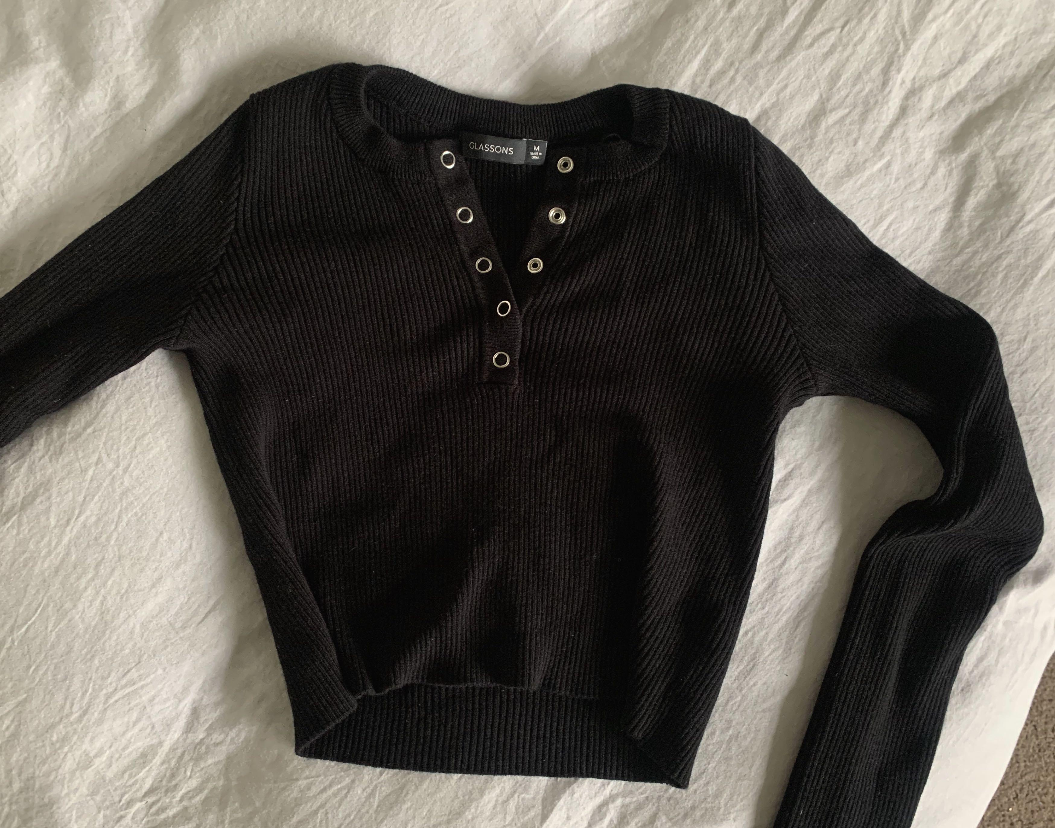 Glassons Ribbed Button Long Sleeve Top