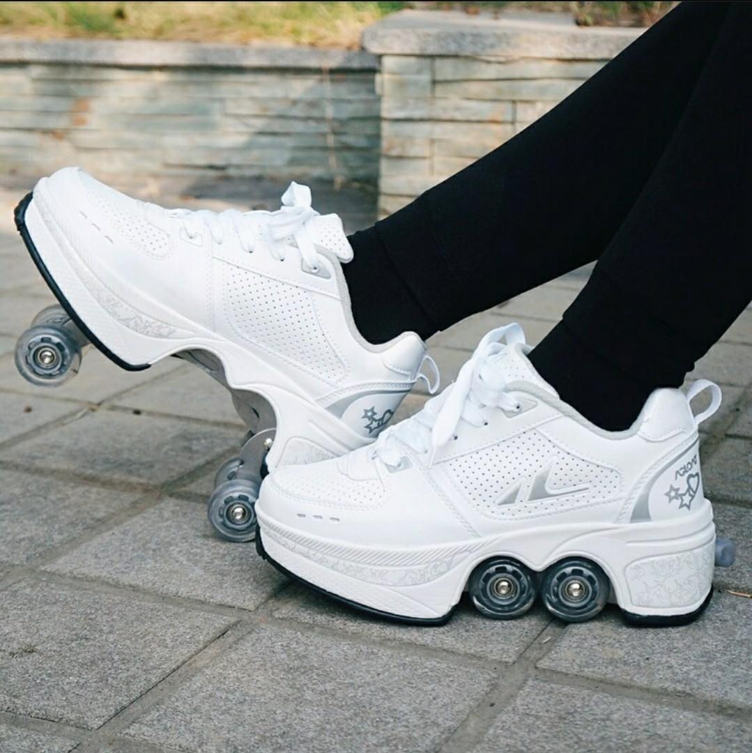 Retractable four wheel quad white