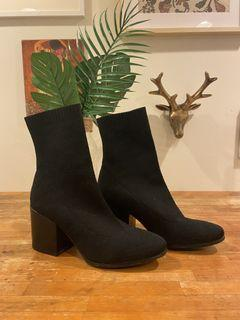TWC Black Fabric Sock Ankle Boots