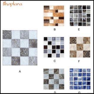 (Pre order)6 Pieces DIY Kitchen Bathroom Bathroom Simulation Wall Tile Waterproof Wallpaper