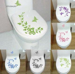 (Pre order)Removable Butterfly Flower Bathroom Wall Decal Toilet Sticker