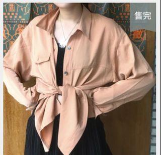 古著粉橘襯衫