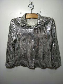 閃亮 亮片 舞台 短版 7分袖襯衫
