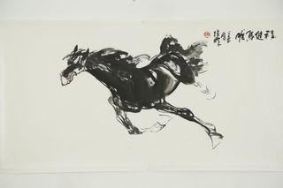 程健匹 Mao Zifei Original Chinese Horse Ink Painting