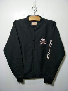 Evisu 純棉 素黑 小logo 棒球外套