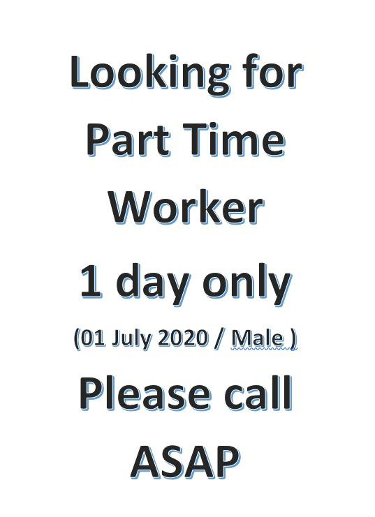 Part Time Job (1 day only)