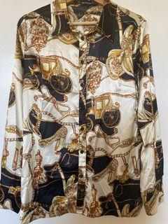 PRETTYLITTLETHING printed satin shirt