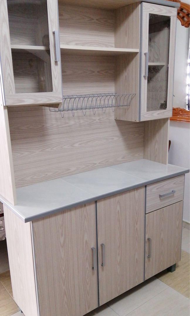 3 Door 122cm Kitchen Cabinet Wth Top, 3 Door Kitchen Cabinet