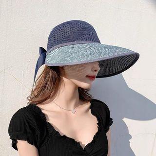 四色海邊空頂防曬編織帽