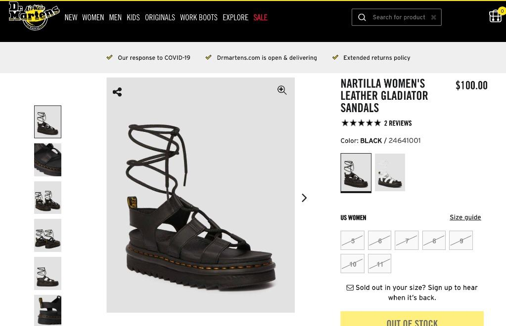 DR. MARTENS NARTILLA WOMEN'S LEATHER GLADIATOR SANDALS BLACK