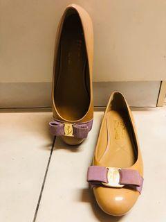 Salvatore ferragamo 裸膚色 粉膚色 裸色 粉紫色 蝴蝶結 法式圓頭娃娃鞋 平底鞋 漆皮 包鞋