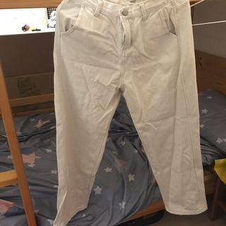 二手 米白直筒褲