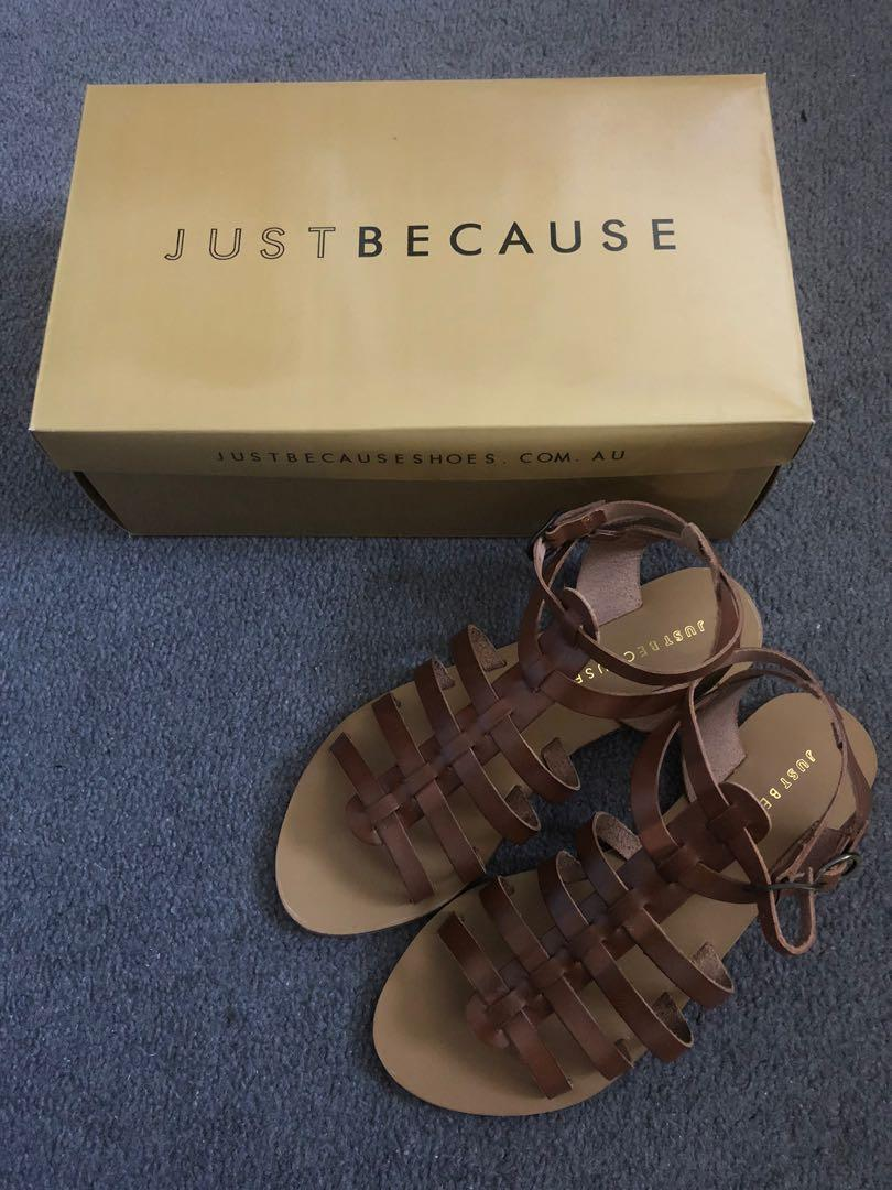 Just Because Brown Flats Size 7