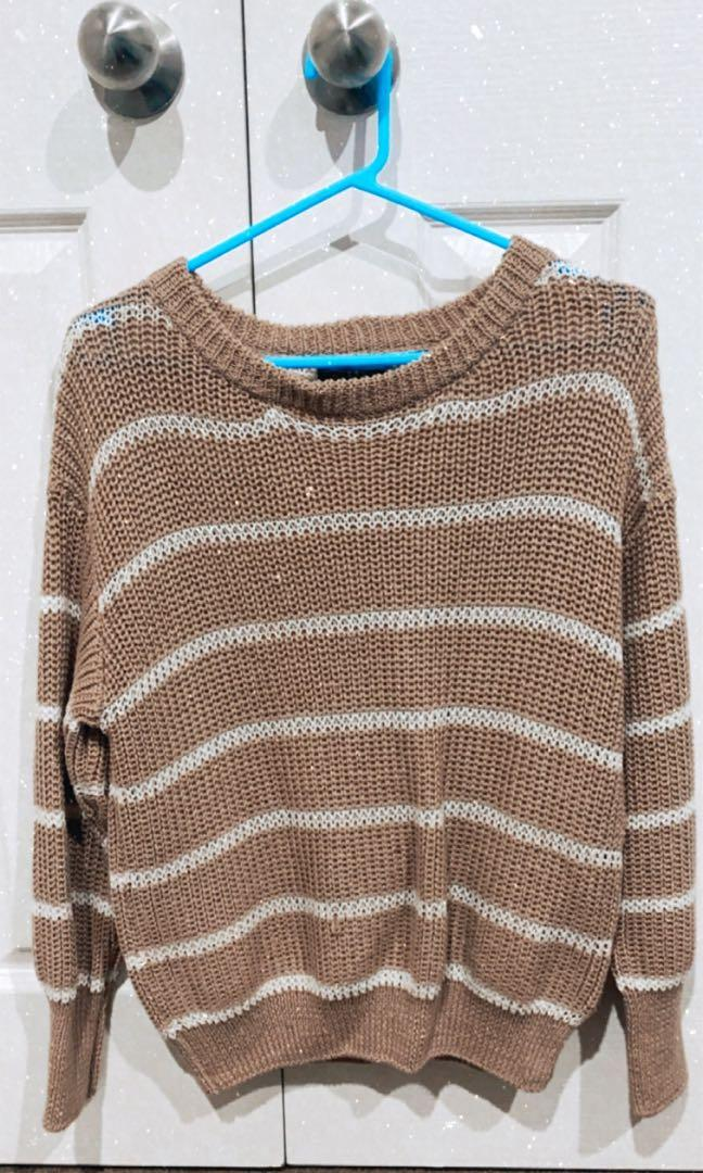 Light brown striped knit