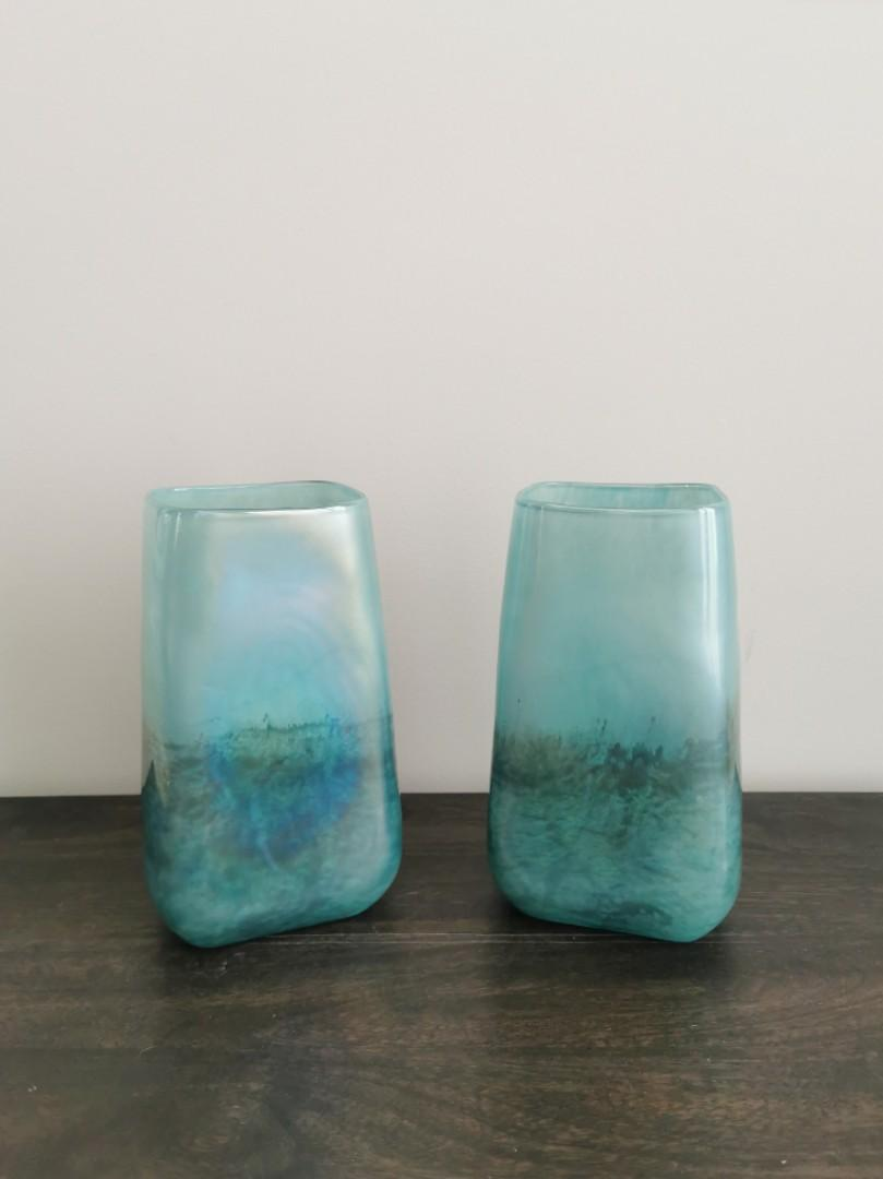 New. Pair of Handmade Glass Vases in Turquoise