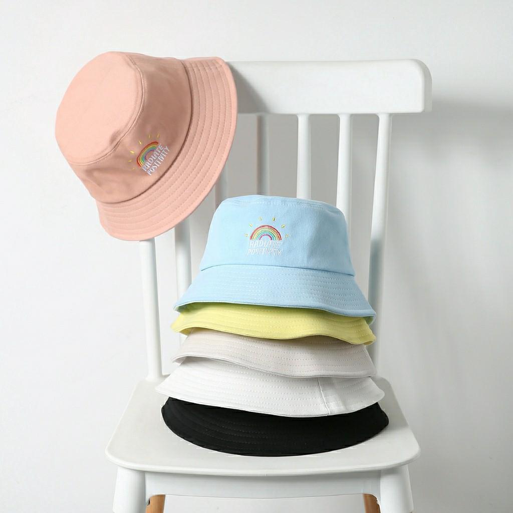 Po Cute Aesthetic Rainbow Radiate Positivity Bucket Hat 6 Colours Women S Fashion Accessories Caps Hats On Carousell