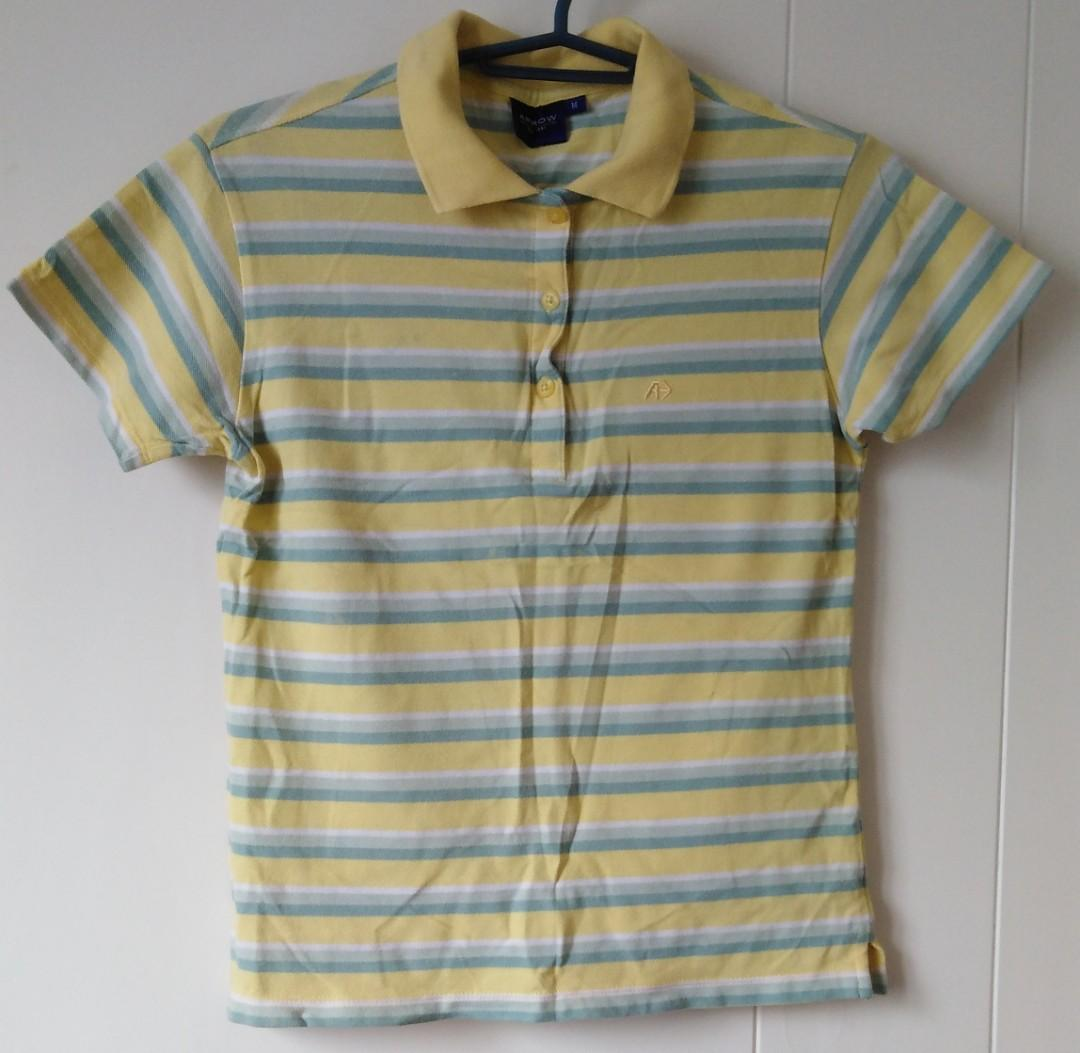 Vintage Shirt Size medium Arrow Knits brand white with brown dots pattern short sleeves very good used condition