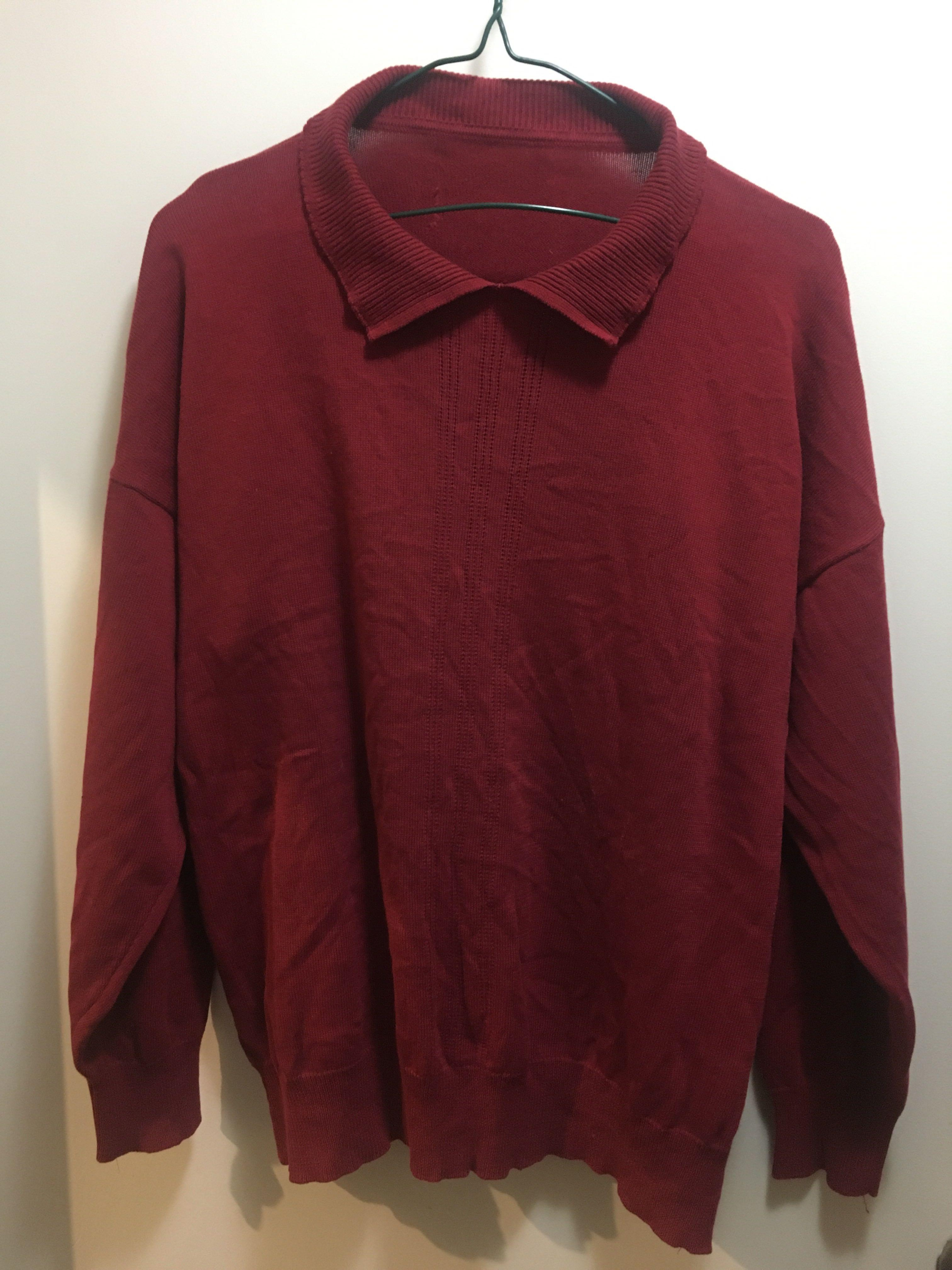 Maroon collared knit jumper