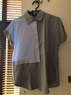 Mono earth half stripes blouse