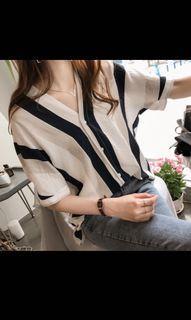 Vneck yellow grey stripes blouse