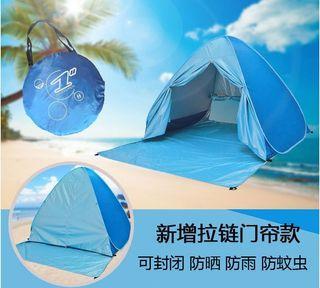 100% 全新 XL 加大有門簾版 遮陽帳 3-5個人用 藍或綠色 一秒自動 速開帳篷 免搭建 沙灘 塗銀底 防UV紫外線 露營 帳幕 野餐 排隊 觀星 看流星