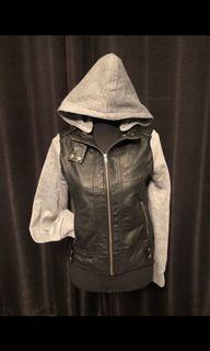 Black and grey leather jacket
