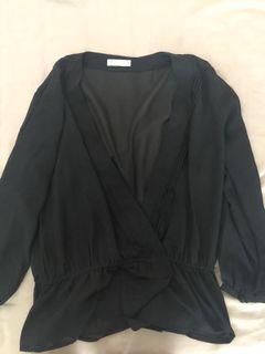 Black deep v blouse