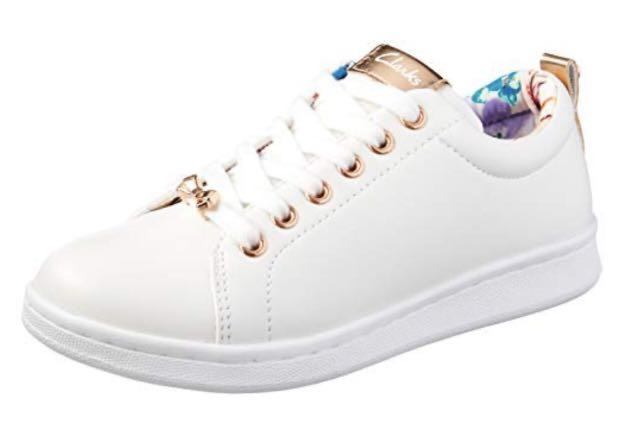 Clarks Duffy White/Rose Gold Sneakers