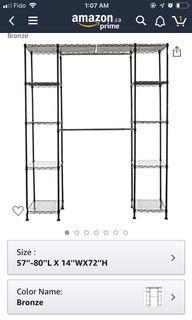 Clothing rack metal wardrobe - expandable, black