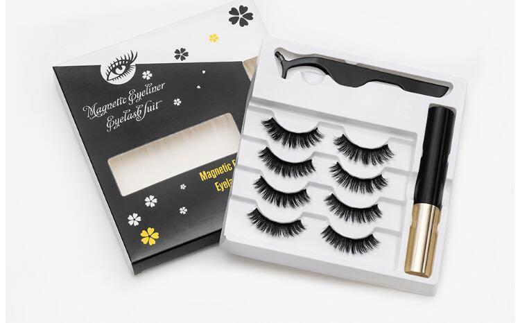 Magnetic lashes 4 pairs liner with tweezer