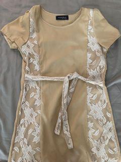 Pretty mini lace nude dress