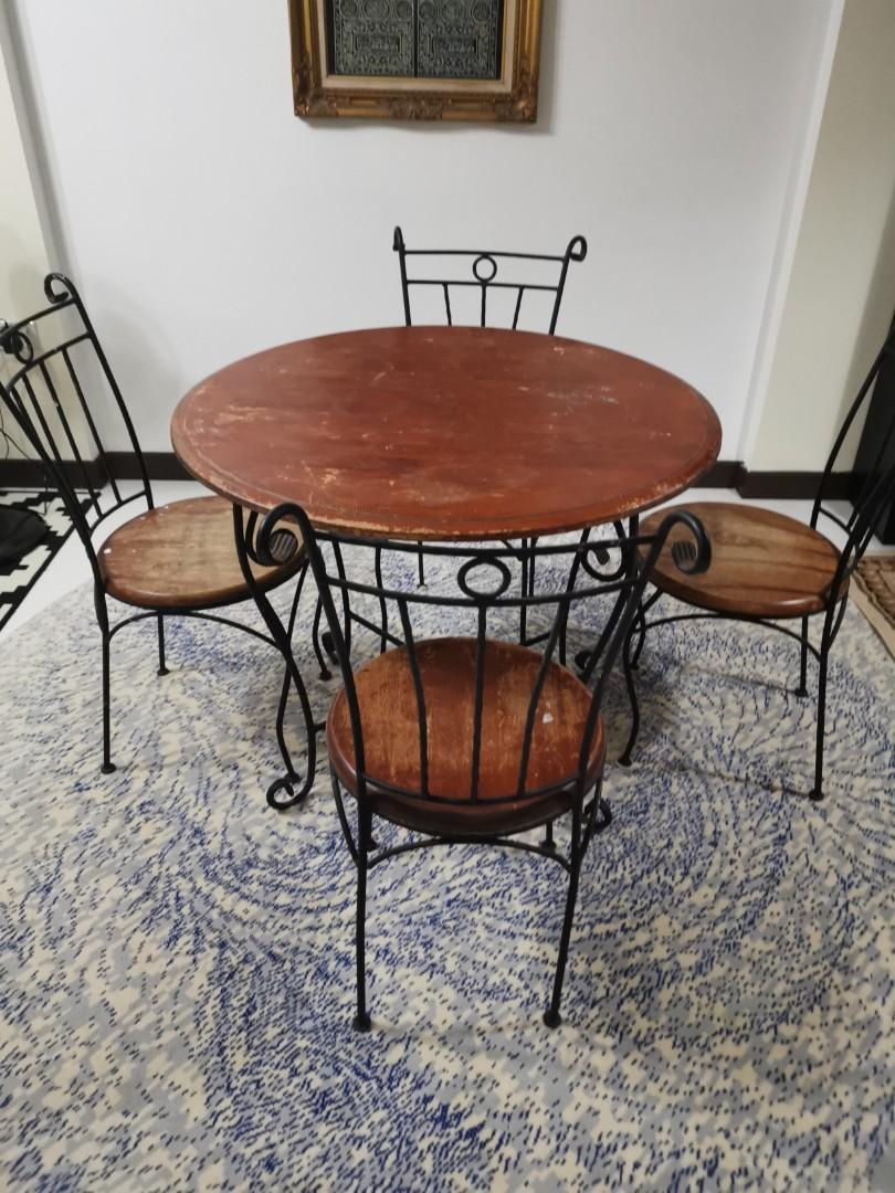 Vintage Wrought Iron Round Dining Table Furniture Tables Chairs On Carousell