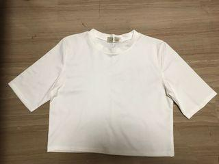 White Sleeved Crop Top