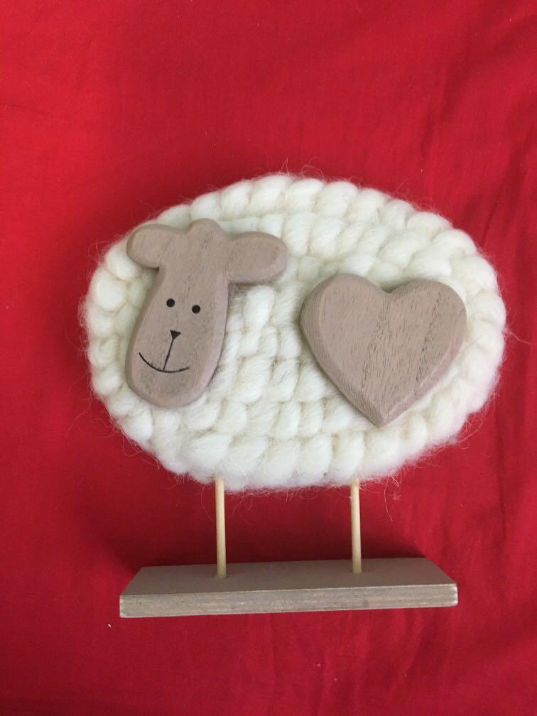 Wool and wood sheep decoration