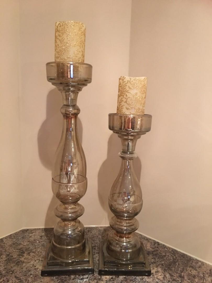 Bowring bronze glass pillar set of 2 candle holder