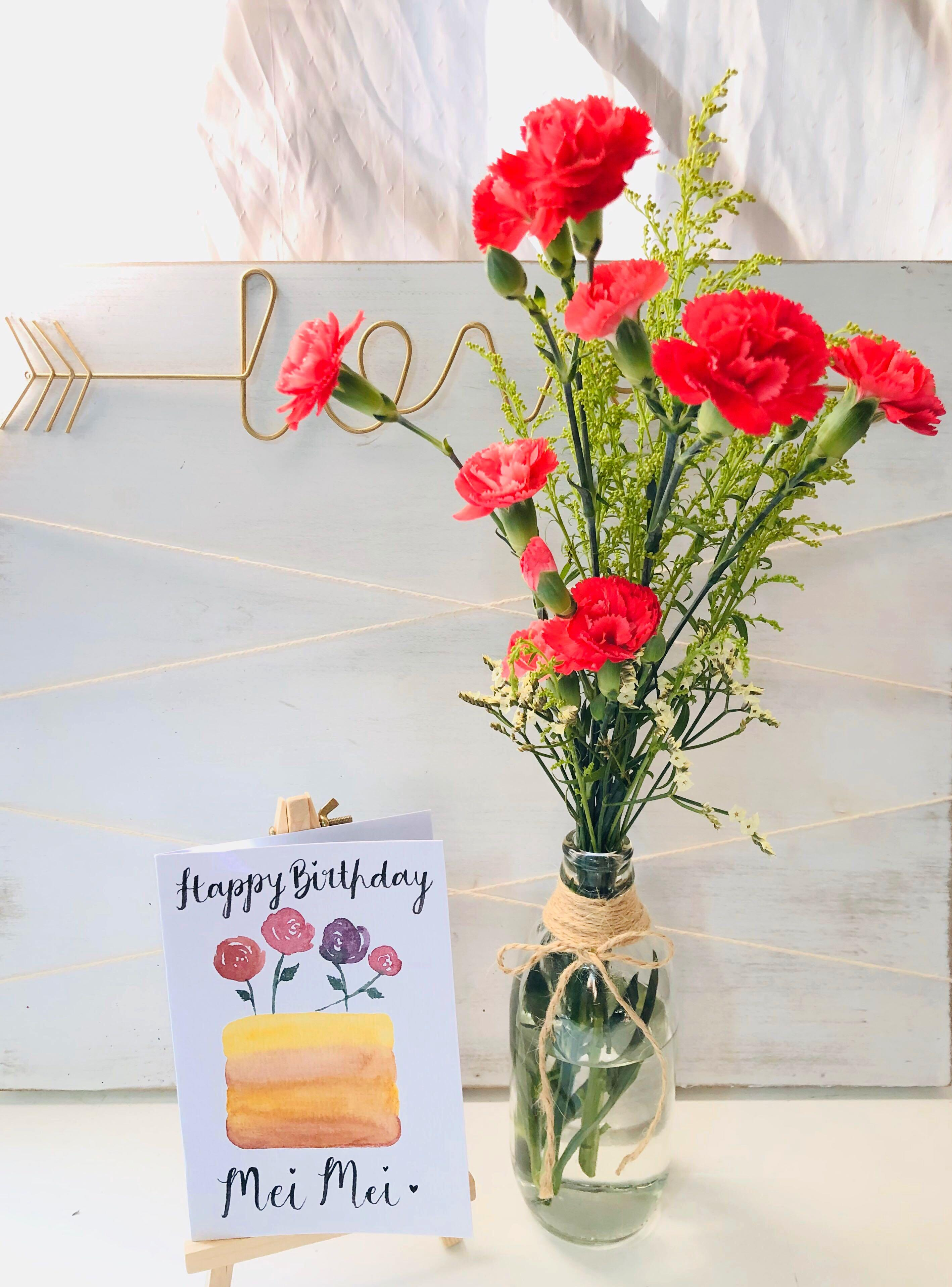 Free Delivery Flowers And Handmade Card Bundle Ft Carnations Occasion Love Anniversary Birthday Surprise Get Well Soon Thank You Well Wishes Congratulations Madeinsg Gardening Flowers Bouquets On Carousell