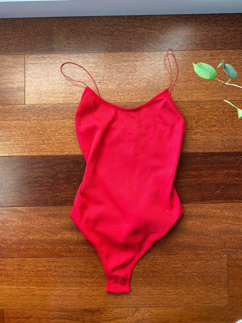 Red spaghetti strap bodysuit