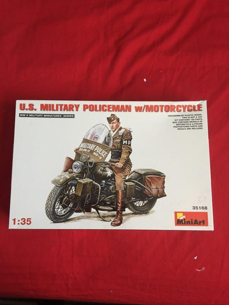 US military police man with motorcycle model art kit