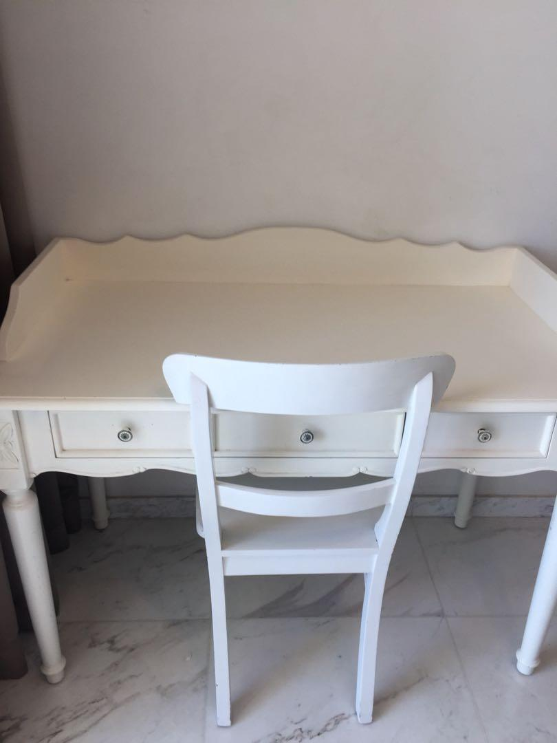 White Bed And Study Table Furniture Beds Mattresses On Carousell